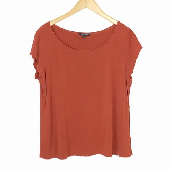 58da211c14dec5 Eileen Fisher Tops - Eileen Fisher 100% Silk Short Sleeve Blouse XL